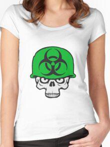 armee helm krieg zombie skelett böse soldat kämpfer waffe biohazard symbol zeichen  Women's Fitted Scoop T-Shirt