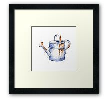 Watercolor Painting of a Rusty Watering Can Spring Framed Print