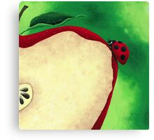 Acrylic Painting of Lady Bug Climbing Up Slice Apple  Canvas Print
