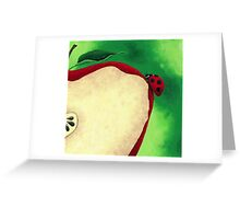Acrylic Painting of Lady Bug Climbing Up Slice Apple  Greeting Card