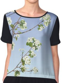 White Cherry Blossoms  Chiffon Top