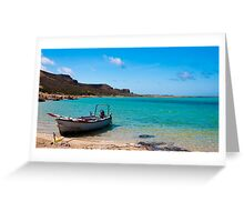 Fishing boat on Balos beach, island of Crete, Greece Greeting Card
