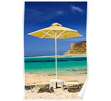 Tropical vacation - beds and umbrella on a beach Poster