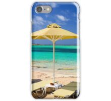 Tropical vacation - beds and umbrella on a beach iPhone Case/Skin