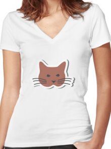 Angry Brown Cat  Women's Fitted V-Neck T-Shirt