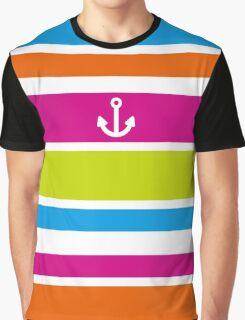 Anchor Brilliant Colorful Stripes Vivid Nautical Summer Fun Graphic T-Shirt