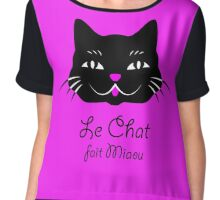 French Cat Says Meow  Chiffon Top