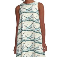 Cool Flying Fish Drawing A-Line Dress