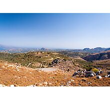Serpentine road on island Crete, Greece, with olive trees Photographic Print