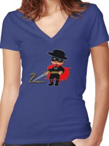 Retro Kid Billy features the legendary Zorro  Women's Fitted V-Neck T-Shirt