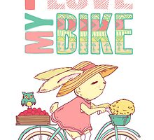 Cute rabbit riding a bike by olarty