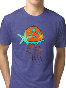 Cute jellyfish and sea stars Tri-blend T-Shirt