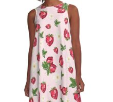 Sweet Botanical Strawberries A-Line Dress