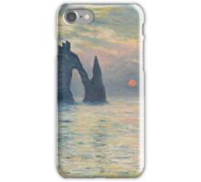 Claude Monet - The Cliff, Étretat,  Sunset  Impressionism iPhone Case/Skin