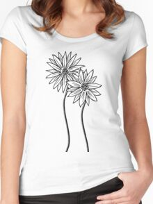 Two Daisies  in Black and White Transparent Background Women's Fitted Scoop T-Shirt