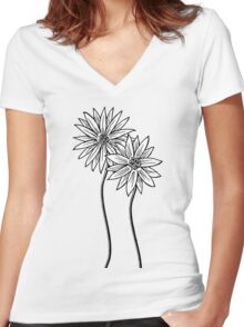 Two Daisies  in Black and White Transparent Background Women's Fitted V-Neck T-Shirt