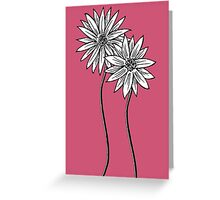 Two Daisies  in Black and White Transparent Background Greeting Card
