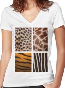 Textures of the Wild Women's Fitted V-Neck T-Shirt