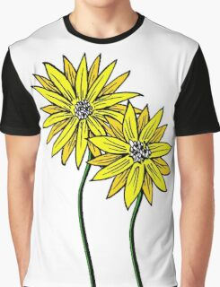 Two Daisies Coloured Yellow with Transparent Background Graphic T-Shirt