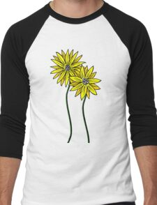 Two Daisies Coloured Yellow with Transparent Background Men's Baseball ¾ T-Shirt