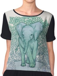 Emerald Elephant in the Lilac Evening Chiffon Top