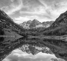 Colorado Images - Maroon Bells Evening black and white 2 by RobGreebonPhoto