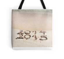 Happy New Year 2015 replace 2014 concept on the sea beach Tote Bag