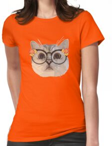 Cat with flower glasses Womens Fitted T-Shirt
