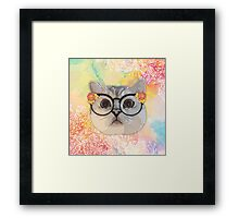Cat with flower glasses Framed Print