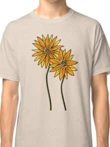 Two Daisies Coloured Orange with Transparent Background Classic T-Shirt