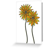 Two Daisies Coloured Orange with Transparent Background Greeting Card