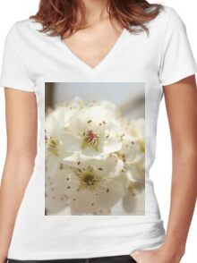 pear blossoms Women's Fitted V-Neck T-Shirt