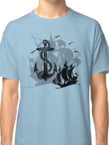 Pirate Ships & Anchor Black Silhouette Classic T-Shirt