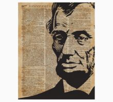 President Abraham Lincoln Illustration Over Old Book Page Kids Tee