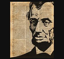 President Abraham Lincoln Illustration Over Old Book Page Unisex T-Shirt