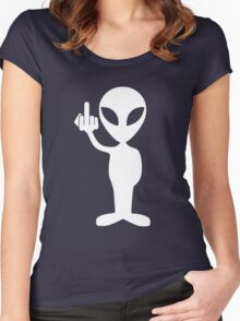Alien showing the middle finger Women's Fitted Scoop T-Shirt