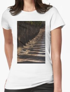 Avenue of palmtrees and their shadows Womens Fitted T-Shirt