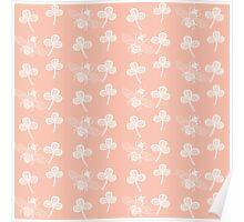 Clover and Bee in White on Peach Poster