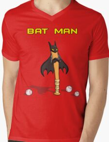 Angry Bat Man Mens V-Neck T-Shirt