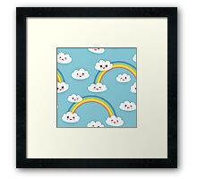Happy rainbow and clouds Framed Print