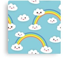 Happy rainbow and clouds Canvas Print