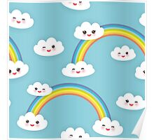 Happy rainbow and clouds Poster