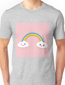 Rainbow and smiling clouds on pink Unisex T-Shirt