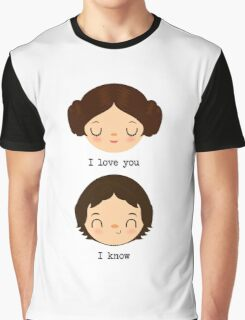 """Leia and Han Solo """"I love you"""" """"I know"""" - Star Wars Graphic T-Shirt"""