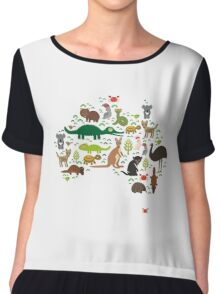 Australian animal map  Chiffon Top