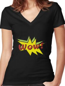 Wow comic Women's Fitted V-Neck T-Shirt