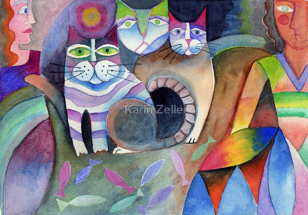 Three cats by Karin Zeller