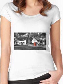Thatched cottages of Halse (Mono) Women's Fitted Scoop T-Shirt