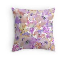 Purple Watercolour Flower Pattern Throw Pillow