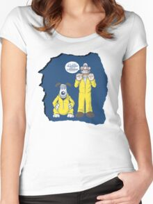 BREAKING BAD & WALLACE AND GROMIT MASHUP Women's Fitted Scoop T-Shirt